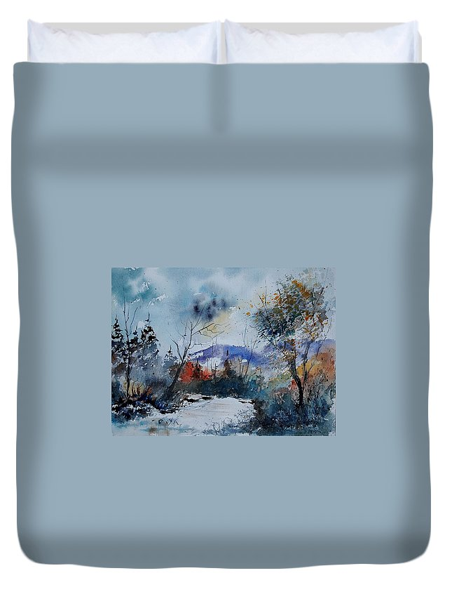 Winter Duvet Cover featuring the painting Watercolor 802120 by Pol Ledent