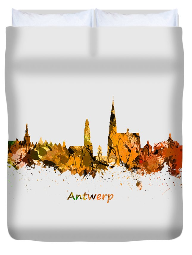 Antwerp Duvet Cover featuring the photograph Watercolor Art Print Of The Skyline Of Antwerp In Belgium by Chris Smith