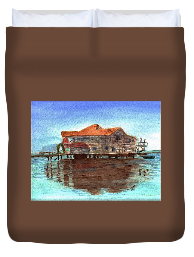 Water Duvet Cover featuring the painting West End Roatan by Donna Walsh