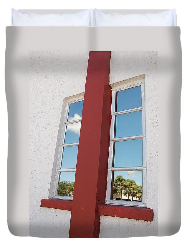 Sky Duvet Cover featuring the photograph Window T Glass by Rob Hans