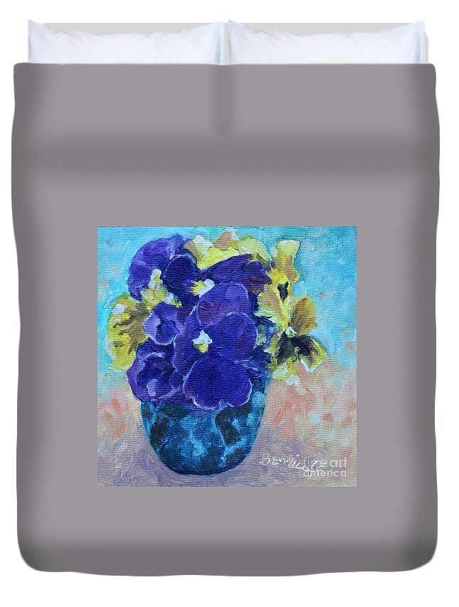 Miniature Duvet Cover featuring the painting Winter Pansies by Jan Bennicoff