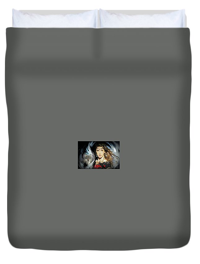 Wolf Duvet Cover featuring the digital art Wolf Totem by Alex Thomas