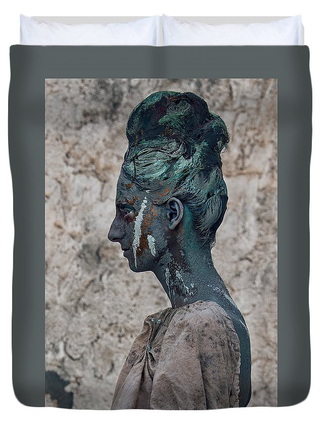Antik Duvet Cover featuring the photograph Woman In Bronze Statue Look With Patina Body Paint by Veronica Azaryan