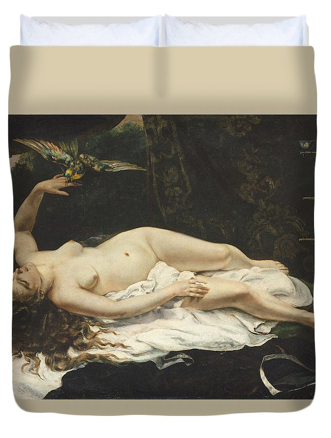 Impressionism Duvet Cover featuring the painting Woman With A Parrot 1866 by Gustave Courbet