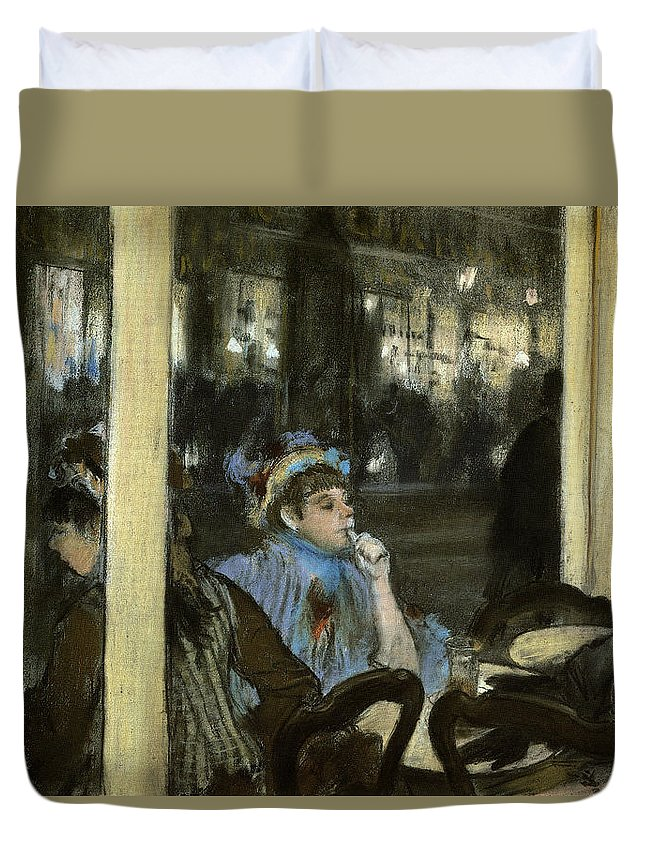 Drinking Duvet Cover featuring the painting Women On A Cafe Terrace by Edgar Degas