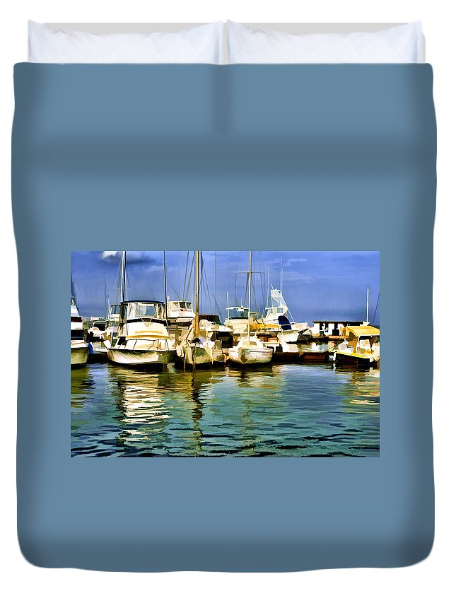 Yacht Club Duvet Cover featuring the photograph Yacht Club by Galeria Trompiz
