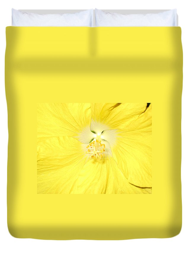 Flower Duvet Cover featuring the photograph Yellow Hibiscus by Debbie Levene