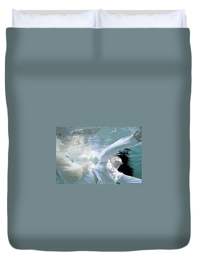 Water Duvet Cover featuring the painting You Are The Ocean And I Am Drowning by Glennis Siverson