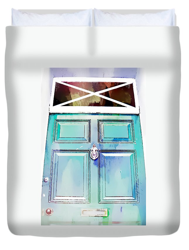 Abstract Duvet Cover featuring the photograph Blue Door by Tom Gowanlock