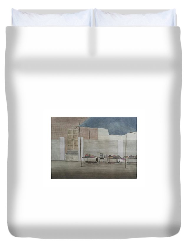 Landscape Duvet Cover featuring the painting Untitled by Gulab Kapadiya