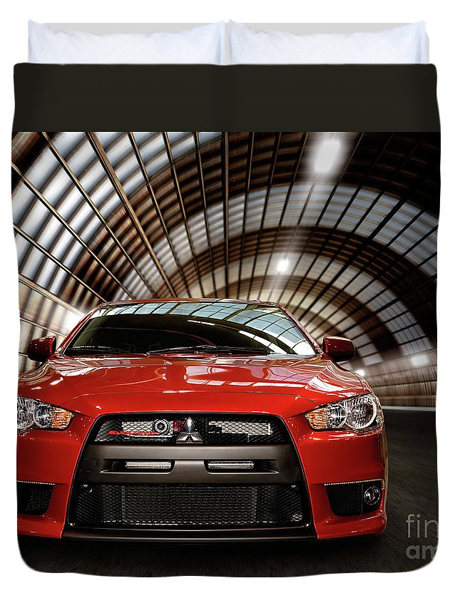 Mitsubishi Duvet Cover featuring the photograph 2008 Mitsubishi Lancer Evolution X by Oleksiy Maksymenko