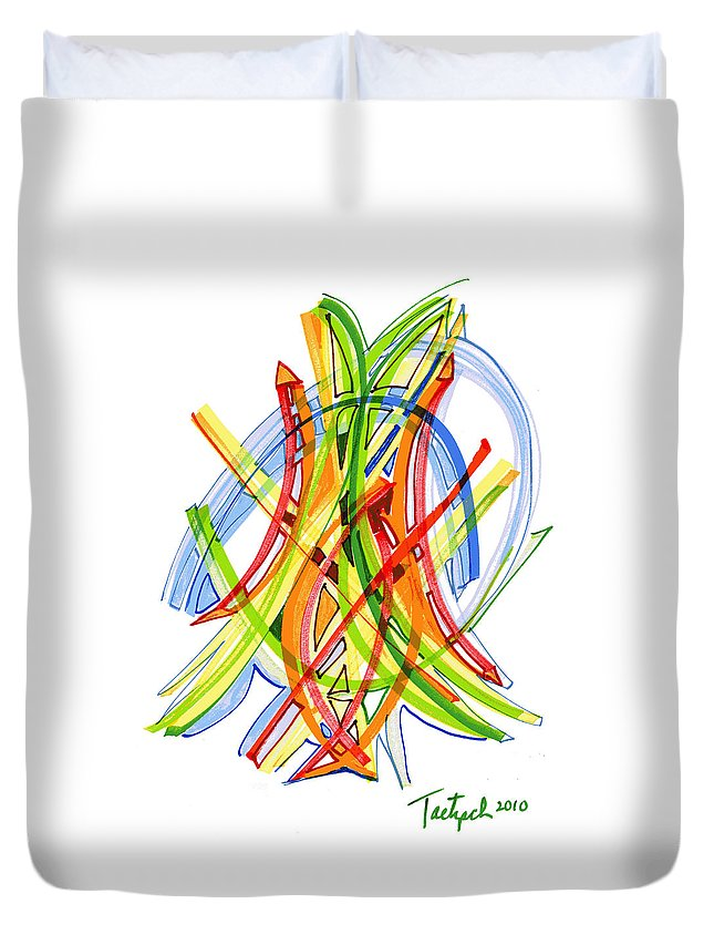 Abstract Art Duvet Cover featuring the drawing 2010 Abstract Drawing Seven by Lynne Taetzsch