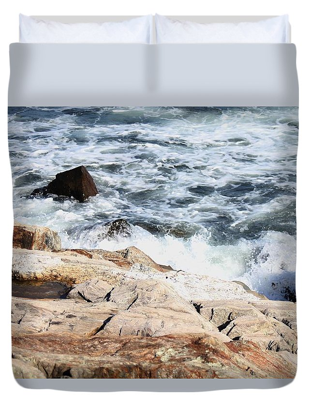 Seacoast Duvet Cover featuring the pyrography 2010 Nh Seacoast 4 by Robert Morin