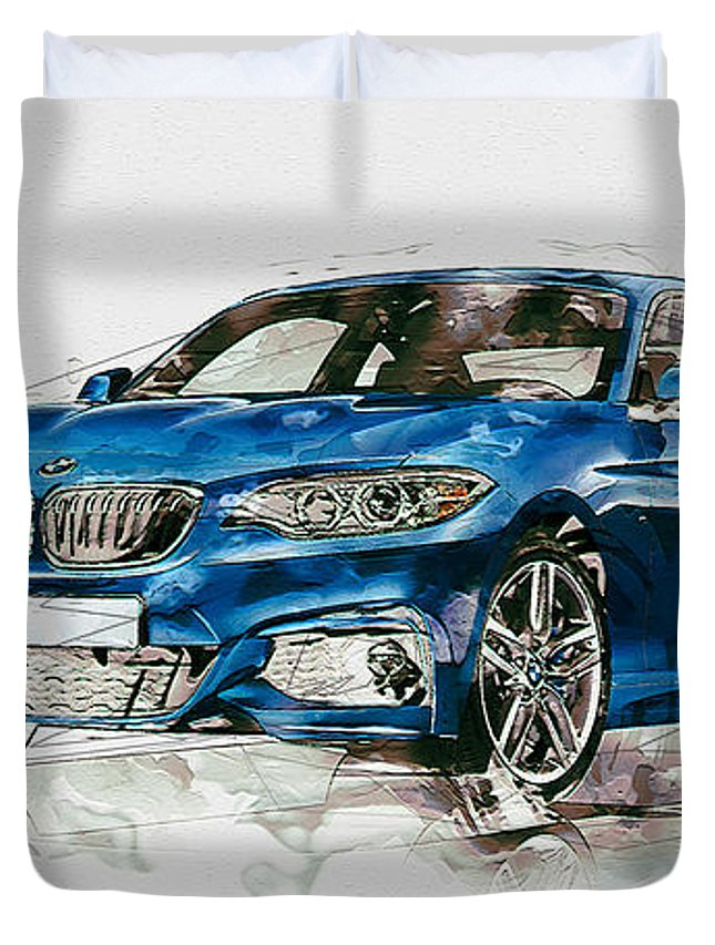 Wheels Of Fortune By Serge Averbukh Duvet Cover featuring the photograph 2014 B M W 2 Series Coupe With 3d Badge by Serge Averbukh