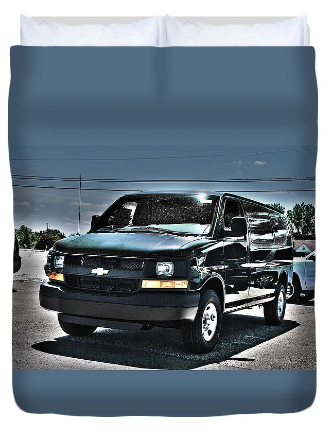 Chevrolet Duvet Cover featuring the photograph 2015 Chevrolet Express Van by Adam Kushion