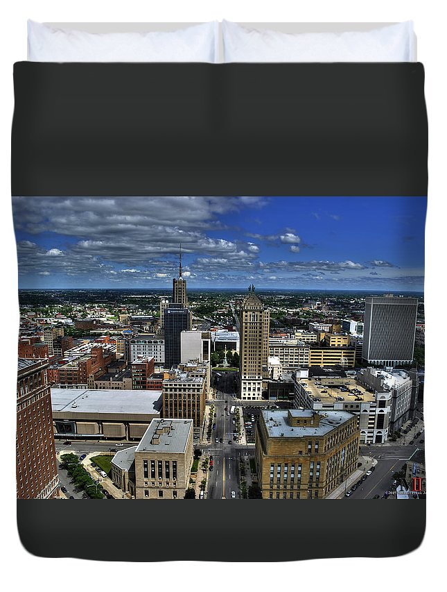 Buffalo Duvet Cover featuring the photograph 2015 View Of Court Street by Michael Frank Jr