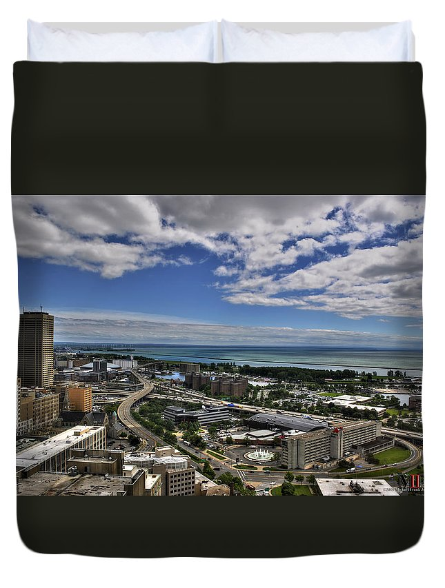 Buffalo Duvet Cover featuring the photograph 2015 View Of The Skyway by Michael Frank Jr