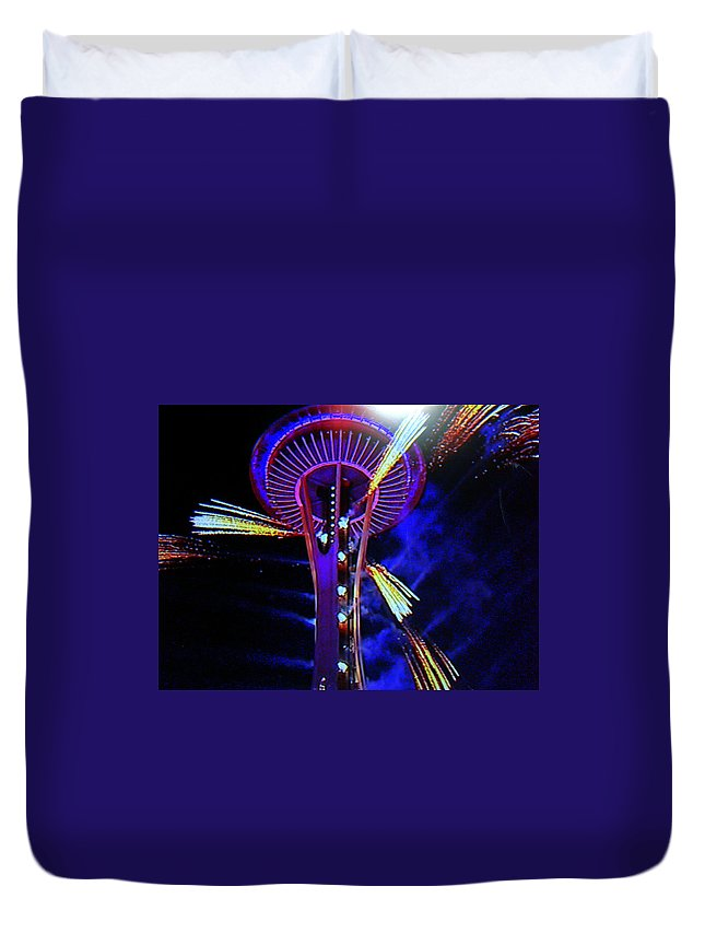 Space Needle Duvet Cover featuring the photograph 2016 At The Space Needle by Maro Kentros