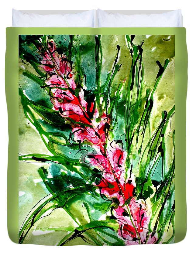 Floral Duvet Cover featuring the painting Heavenly Flowers by Baljit Chadha