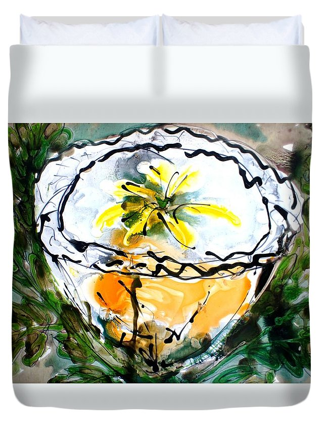Flowers Duvet Cover featuring the painting Heavenly Flowers by Baljit Chadha
