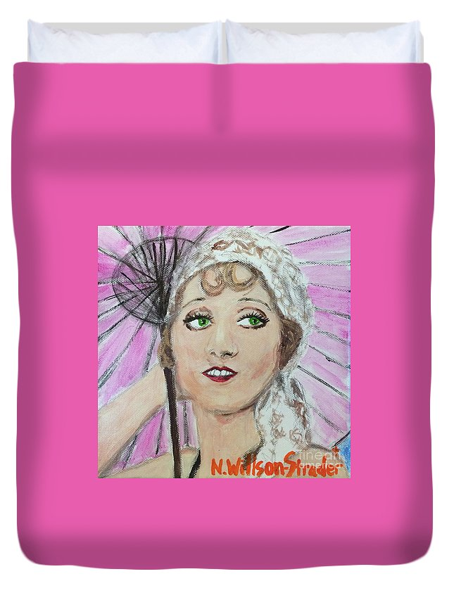 1920s Duvet Cover featuring the painting 20's Glamour, Parasol by N Willson-Strader