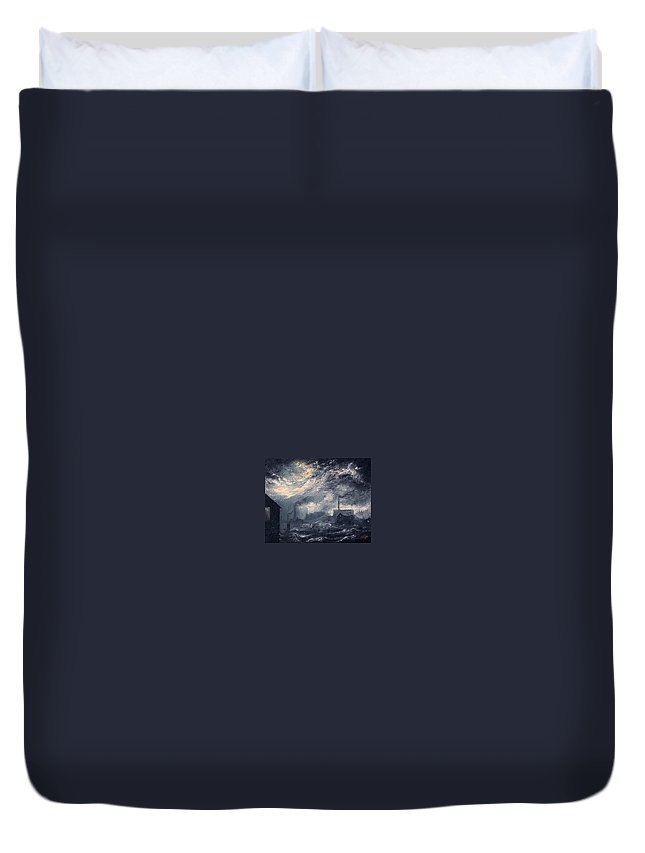 Ls Lowry Duvet Cover featuring the painting 20th Century Industrial Landscape by M P Elliott British Northern Artist
