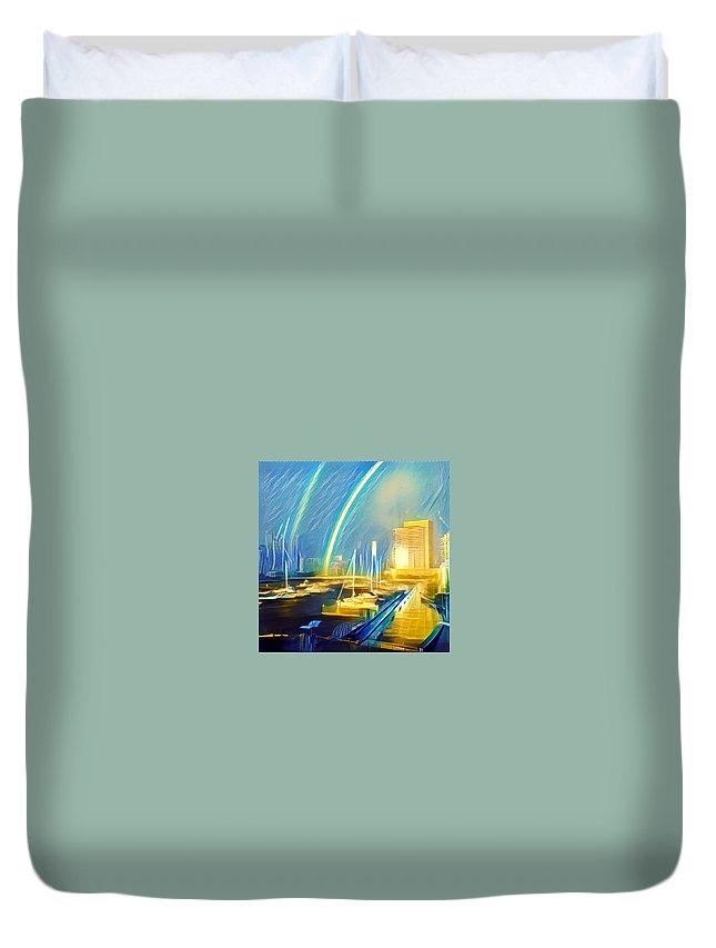 Gabyduvalimageanddesign Duvet Cover featuring the digital art Docklands Double Rainbow by Melinda Sullivan Image and Design