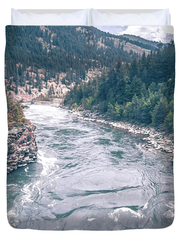 Falls Duvet Cover featuring the photograph Kootenai River Water Falls In Montana Mountains by Alex Grichenko