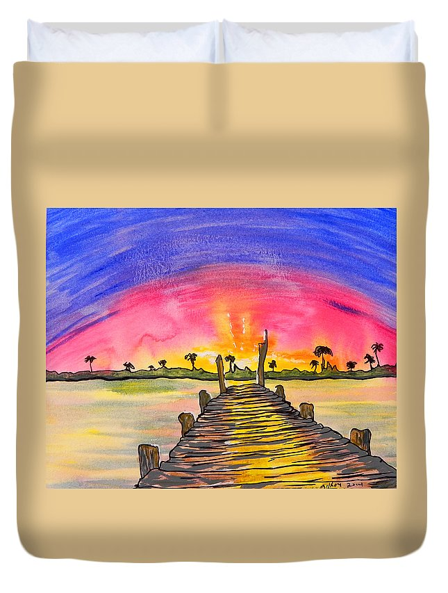 Wgilroy Duvet Cover featuring the painting Sunrise / Sunset / Indian River by W Gilroy