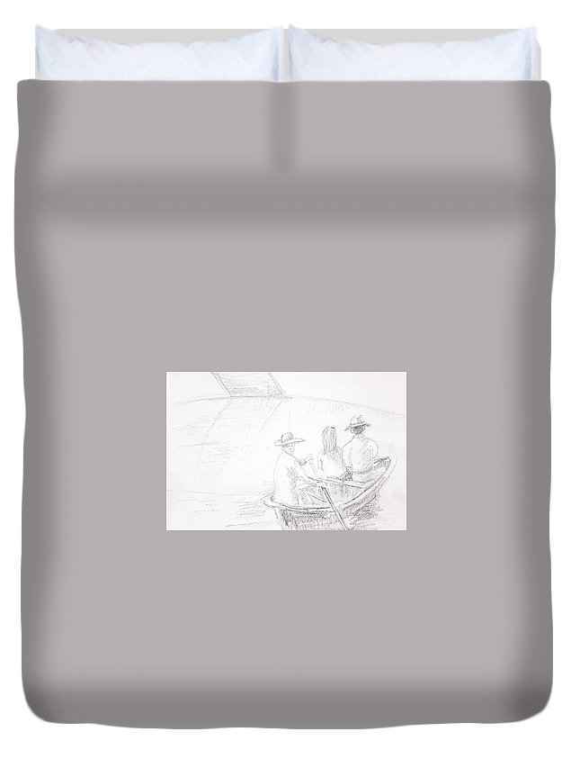 Boat Duvet Cover featuring the drawing Untitled by Hae Kim