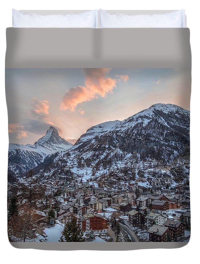 Matterhorn Duvet Cover featuring the photograph Zermatt - Switzerland by Joana Kruse