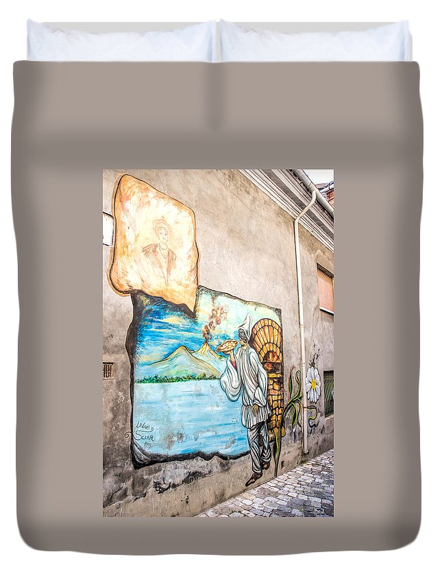 1800 Duvet Cover featuring the photograph Mural Painting In Saludecio by Alain De Maximy