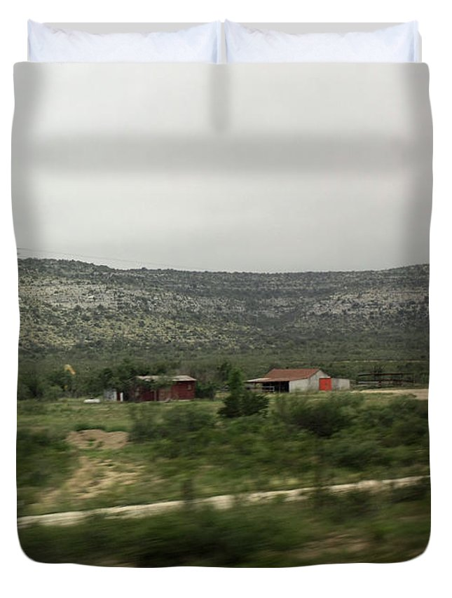 Country Town Duvet Cover featuring the photograph Texas Scenic Landscape by James Connor