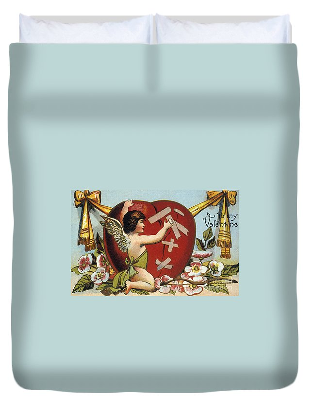 1914 Duvet Cover featuring the photograph Valentines Day Card by Granger