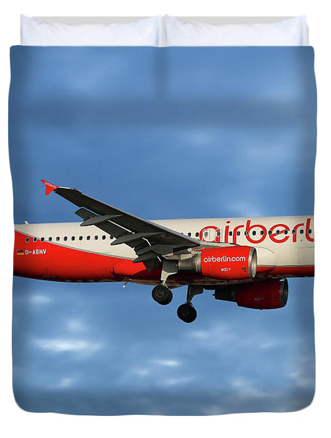 Air Berlin Duvet Cover featuring the photograph Air Berlin Airbus A320-214 by Smart Aviation