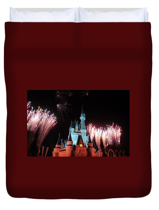 Walt Disney World Duvet Cover featuring the photograph Cinderella Castle by Rob Hans