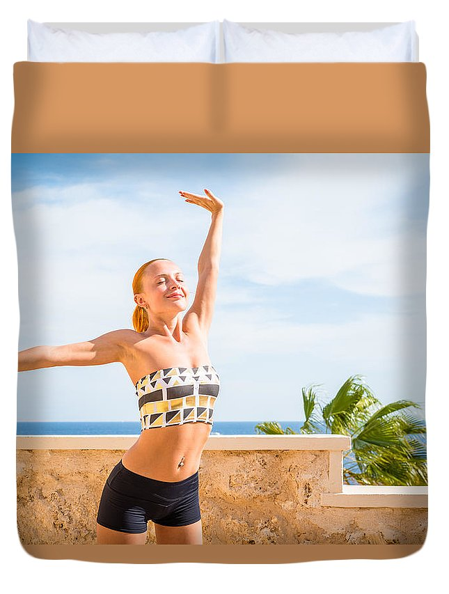 20s Duvet Cover featuring the photograph Beautiful Woman Practicing Yoga by Nikita Buida
