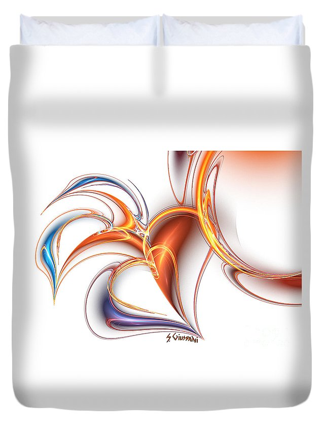 Abstract Duvet Cover featuring the digital art 252-hearts In Love by Silvia Giussani