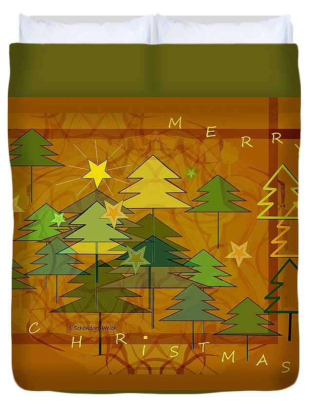 2607 Merry Christmas 2018 Duvet Cover featuring the digital art 2607 Merry Christmas 2018 by Irmgard Schoendorf Welch
