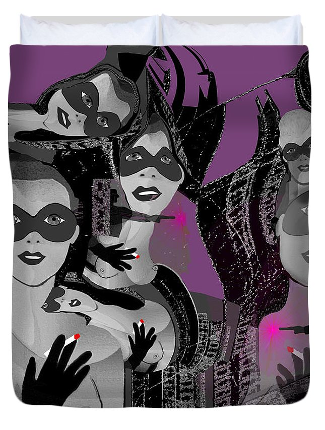 2616 Ladies Masks Man Weapons 2018 Duvet Cover featuring the digital art 2616 Ladies Masks Man Weapons 2018 by Irmgard Schoendorf Welch