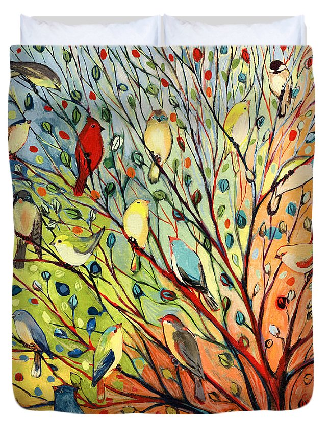 Bird Duvet Cover featuring the painting 27 Birds by Jennifer Lommers