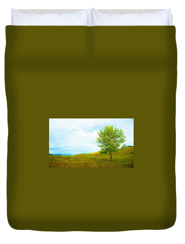 Landscape Duvet Cover featuring the painting Nature Art Landscape by World Map
