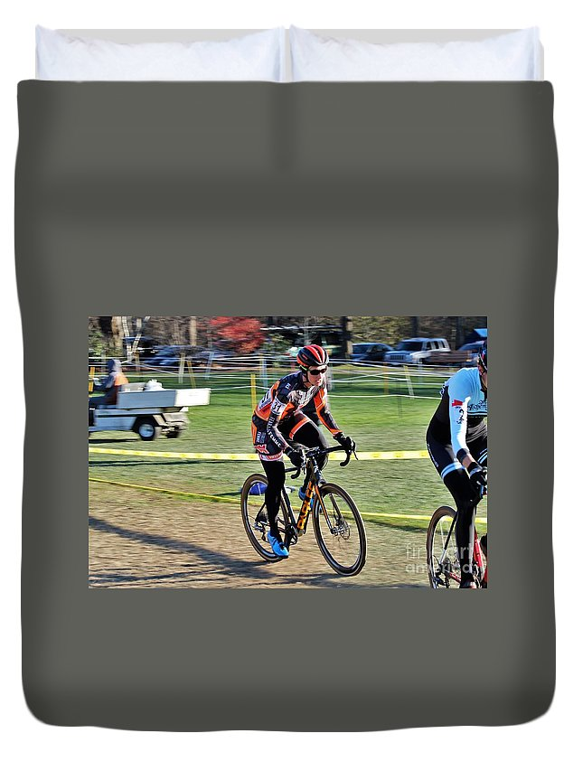 Duvet Cover featuring the photograph Fearless Femme Racing by Donn Ingemie