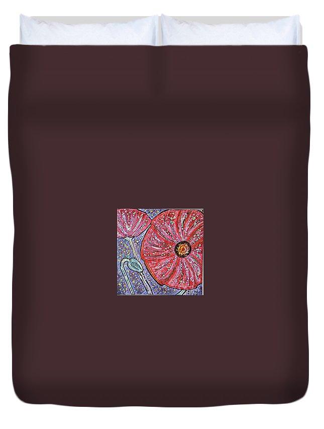Duvet Cover featuring the digital art Poppy by Melinda Sullivan Image and Design