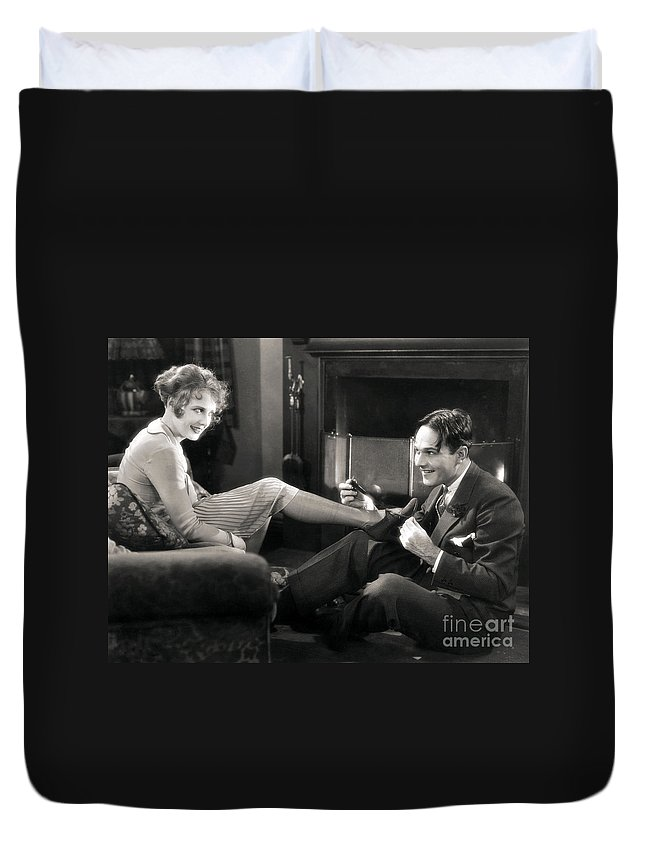 -couples- Duvet Cover featuring the photograph Silent Film Still: Couples by Granger