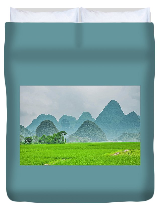 Landscape Duvet Cover featuring the photograph The Beautiful Karst Rural Scenery by Carl Ning