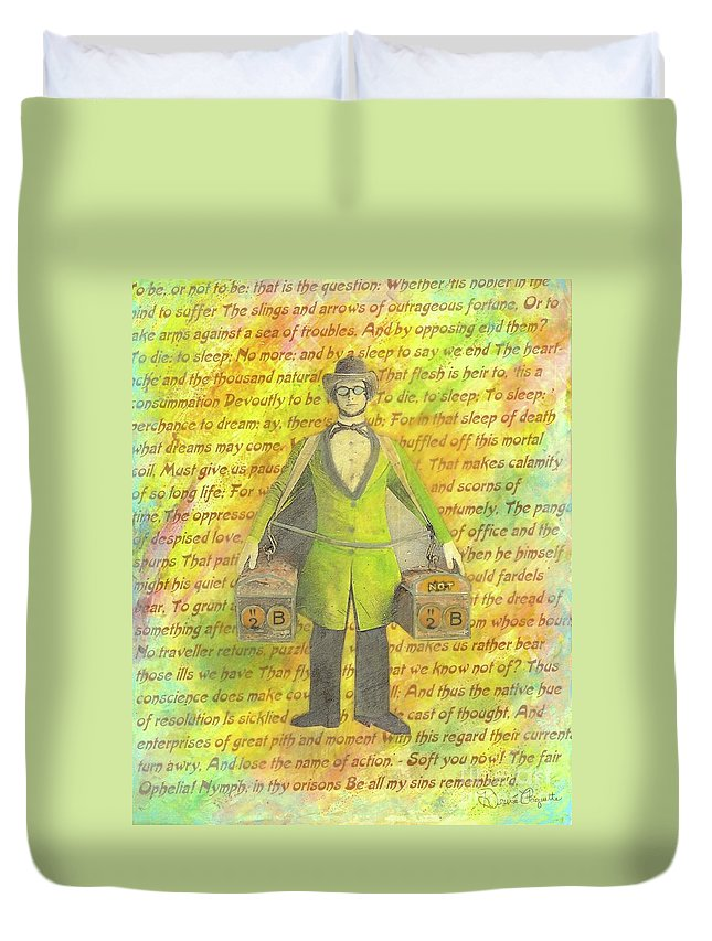 Yellow Duvet Cover featuring the mixed media 2b Or Not 2b by Desiree Paquette