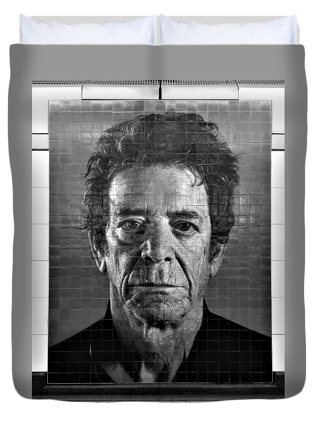 Art Duvet Cover featuring the photograph 2nd Ave Subway Art Lou Reed B W by Rob Hans