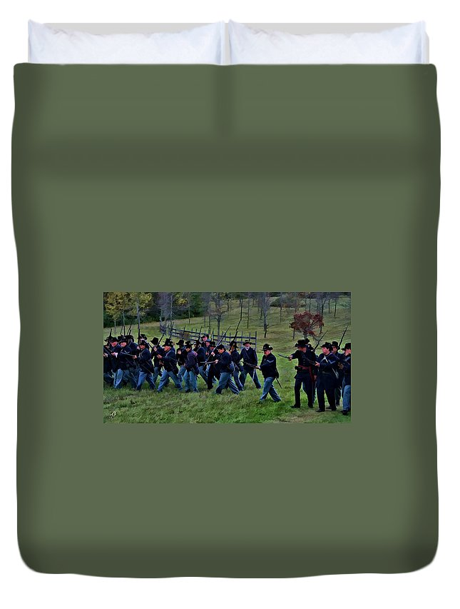 Black Hats Duvet Cover featuring the digital art 2nd Wi Infantry Black Hats by Tommy Anderson