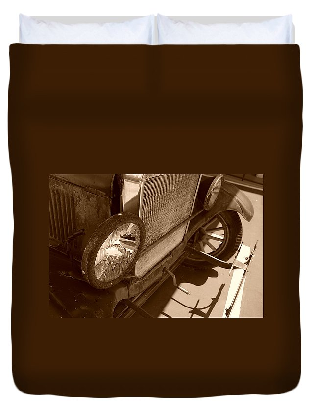 Sepia Duvet Cover featuring the photograph 1926 Model T Ford by Rob Hans